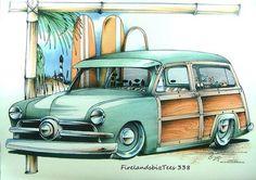 1949 50 Green 2 Door Woody Car Mens T Shirt Brent Gill Design POS 338