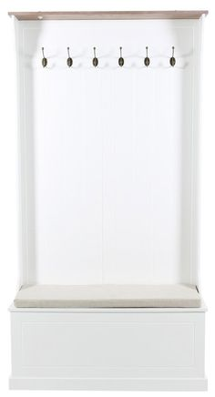 24Designs Landelijke Kapstok Halkast Arte - 6 haken - L95 x B35 x H180 cm - Wit