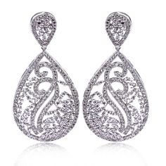 DC1989 Women's Deluxe Classic Drop Earrings See Through Style Synthetic  Cubic Zirconia Paved Lead Free Rhodium