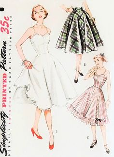 1950s Pretty Slip and Petticoat Pattern Simplicity 3766 Vintage Sewing Pattern 3 Styles Full or Half Slips Full Skirt or Ruffled Bottom Rockabilly Style Bust 34