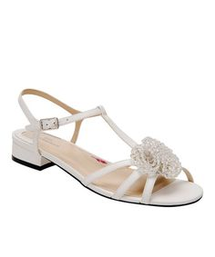 Look what I found on #zulily! White Jackie Leather T-Strap Sandal #zulilyfinds