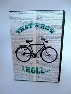 That's how I roll bike dictionary art notebook Green Books, Dictionary Art, Notebook, Bike, Art Prints, Antiques, Unique Jewelry, Handmade Gifts, Etsy
