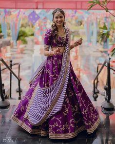 Purple / violet colour embroidery work lehenga choli with stripes stylish dupatta Ghagra choli chaniyacholi indian bride dress Indian Lehenga, Sabyasachi Lehenga Bridal, Lehenga Choli Wedding, Bridal Lehenga Choli, Red Lehenga, Lehenga Dupatta, Anarkali, Alia Bhatt Lehenga, Indian Suits Punjabi