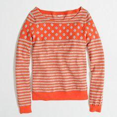 Love. Charming and fun. Factory warmspun intarsia stripe-dot sweater in tangerine.