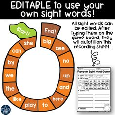 Pumpkin Sight Word Game FREEBIE - The Primary Post Sight Words, Sight Word Practice, Sight Word Games, Sight Word Activities, Math Activities, Word Study, Word Work, Reading Centers, Literacy Centers