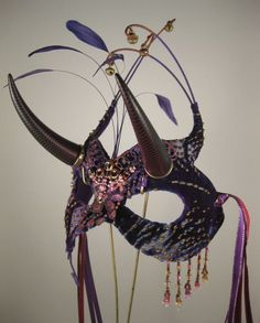 Purple Horned Masquerade Mask