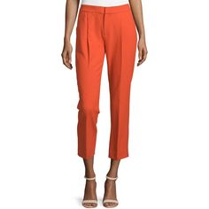 Foundrae Cropped Pleated Pants ($110) ❤ liked on Polyvore featuring pants, capris, flame, cropped trousers, slim fit trousers, red crop pants, pleated pants and red trousers