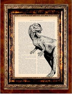 Dinosaur on antique book page.