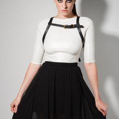 FOXGLOVE black leather harness. Shop online at http://boa.storenvy.com