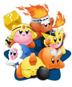 Kirby as Mega Man 1 Robot Masters
