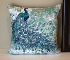Beautiful paisley peacocks pillow size 14 x 14 Peacock Bedroom, Peacock Pillow, Peacock Decor, Peacock Colors, Peacock Art, Peacock Theme, Peacock Design, Bedroom Themes, Bedrooms