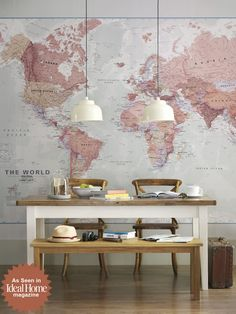Executive World Map wall mural by Printed Space for Ideal Home Magazine dining room photoshoot