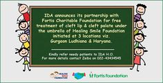 Be a part of IDA activity to help cleft lip and cleft palate needy patients for details call Zeiba on 8879600646 or 022 43434545