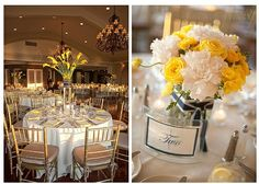 A Yellow and Navy Summer Wedding. Could be tweaked to work with a fall or winter wedding...