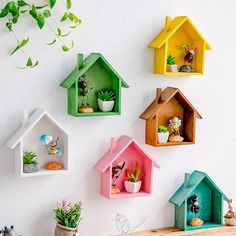 Creative Wooden Wall Decor - House Shelf for Children Bedroom Features: Made of natural wood materials, hard and durable. Bedroom Crafts, Diy Home Crafts, Craft Stick Crafts, Diy Room Decor, Wood Crafts, Popsicle Crafts, Handmade Crafts, Nursery Decor, Wooden Wall Decor