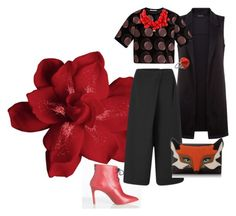 Red rose by yaninna-diaz on Polyvore featuring moda, Marco de Vincenzo, Cameo, Kate Spade and Kenneth Jay Lane