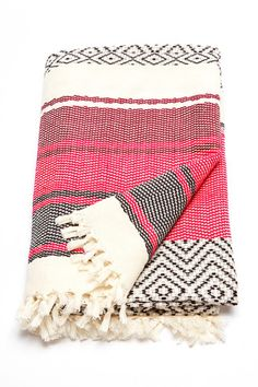 Ixchel Beach Blanket by Wax + Cruz. 100% cotton beach blanket handwoven by master-artisans in Mexico. This unique piece does perfect double duty as a wrap, towel, or home textile. - Fair trade - Handw