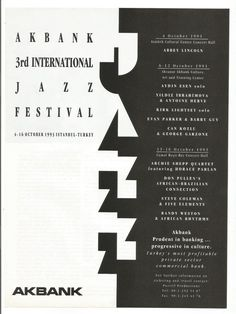 1993 Advertisement Akbank Annual Jazz Festival Istanbul Turkey Black and White Graphic October 93 Wall Art Decor Certificate Frames, Fade Out, Jazz Festival, Training Center, Liking Someone, Print Magazine, Concert Hall, Istanbul Turkey, Custom Framing
