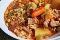 Beef & Barley Stew Ingredients pounds chuck steak, cut into 1 inch pieces 1 medium onion, chopped 2 cups baby car. Crockpot Dishes, Crock Pot Slow Cooker, Crock Pot Cooking, Beef Dishes, Slow Cooker Recipes, Crockpot Recipes, Soup Recipes, Dinner Recipes, Cooking Recipes