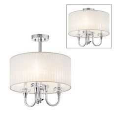 master-360-Kichler Lighting 42630CH 3 Light Parker Point Convertible SemiFlush Semi Flush Ceiling Light, Chrome