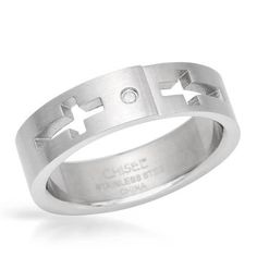Cross Mens Ring With Diamond-Size9