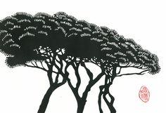 veronicalacourciere on Etsy Woodcut Art, Linocut Prints, Moleskine, Rome, Impressions Botaniques, Black And White Tree, Vegetable Prints, Art Prints Quotes, Tree Print