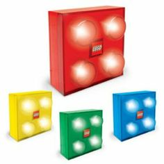 LEGO Transparent Brick Light - How cool are these? They are like tap lights but they are lego shapped - LOVE! getting one or two for tyler and will! Lego Bedroom Decor, Kids Bedroom, Bedroom Ideas, Kids Rooms, Legos, Lego Decorations, Classic Lego, Lego Room, Buy Lego