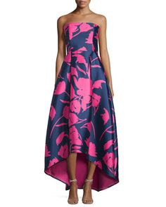 Strapless+Floral-Print+High-Low+Gown,+Navy/Pink+by+Sachin+&+Babi+Noir+at+Neiman+Marcus.