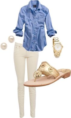 Southern Charm. Chambray button down and white jeans with Jack Rogers sandals