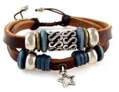 Lucky Star Double Strand Leather Bracelet, Adjustable 5 to 7 Inches. Two Strand Leather Bracelet With Lucky Star Drop. Silvertone Beads, Metal Beads, Blue Wood Beads. This Smaller Size Adjustable Bracelet Fits 5.5 to 7.5 Inches (Extra Small to Average/Large). Arrives in Foil Gift Box with Attractive Bow.