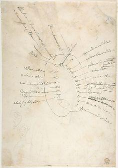 George Romney R.A. (1734-1802) Verso: Palette colour layout. Pencil. 39x27cms. (Met).
