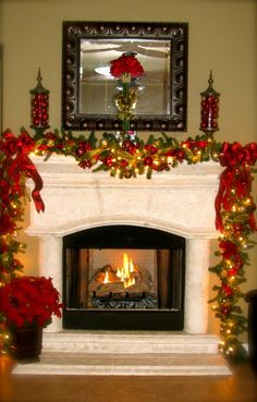 Merry Christmas from Texas, Hope everyone has a very Merry Christmas! , Fireplace with lots of ribbon on garland                    , Holida...