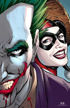 Joker and Harley Quinn by Mike S. Miller For more Harley Quinn madness check out… Comic Book Characters, Comic Character, Harley Quinn Et Le Joker, Es Der Clown, Univers Dc, Les Gifs, Im Batman, Gotham Batman, Batman Art