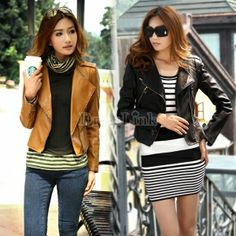 Girls Cool Stylish Zip Up Leather Biker Short Slim Fit Jacket Coat