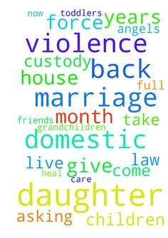 My daughter has been in a domestic violence marriage - My daughter has been in a domestic violence marriage for 4 years now in the UK. She left a month ago and went to a friends house with her 2 toddlers. I am asking for prayers that the law will stand by her and give her full protected custody of her children and force allowance to come back to US to live with me, her mother so I can take care and help heal my daughter and grandchildren. Also, my angels protect them until they get back to…