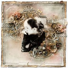 The feminine side of Steampunk...a gorgeously elaborate page filled with gears, buttons and metal-look embellishments. Soft peach and sage green tones along with a few flowers, small lace strip and a stitched border add a contrasting feminine touch. The strong B/W photo is perfect for this layout and isn't lost in the embellishments. A very striking page that could be adapted for a man with just a few tweaks.