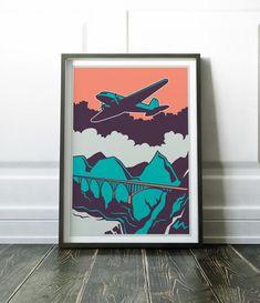Retro Plane Print Retro Print Retro Poster Aircraft Print
