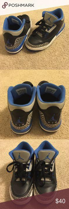 Nike Jordan's Black, grey, blue and white Jordan's in a kids 5.5 which is a women's 7.5! Jordan Shoes Sneakers