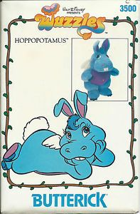 Walt Disney Presents Wuzzles: Wuzzle Hoppopotamus: Hoppopopotamus is a stuffed toy approximately 11 inches tall. She is part hippopotamus and part rabbit. Butterick 1985 The pattern is cut and INComplete. MISSING PIECE – Eye (see piece 17 below). Retro Toys, Vintage Toys, Childhood Toys, Childhood Memories, Saturday Morning Cartoons 90s, Disney Presents, Nostalgia, 80 Cartoons, Sewing Toys