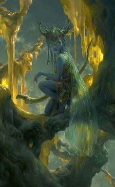 Blue skined girl, female, archer, braided hair, Golden forest.
