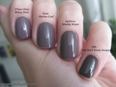 OPI You don't know Jacques! vs. IsaDora Muddy Water vs. Essie Merino Cool vs. China Glaze Below Deck