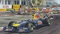 """Sebastian Vettel - Monaco Grand Prix 2011 racing with the Red Bull Team. Painting is fully framed within a mount accompanied by descriptive text. Size - 32"""" x 24"""" Medium - Gouache £700.00"""