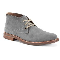 Chaps Vanderbilt Men's Suede Chukka Boots ($110) ❤ liked on Polyvore featuring men's fashion, men's shoes, men's boots, grey, mens grey shoes, mens suede lace up boots, mens chukka boots, mens gray dress shoes and mens gray boots