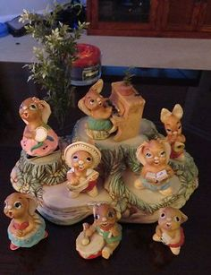 Rare Old PENDELFIN Rabbits - 9 pieces all members and the band stand nice cond Rabbits, My Childhood, Whimsical, Bunny, Collections, Memories, Christmas Ornaments, Retro, Nice