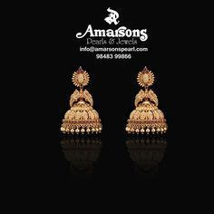 Peacock Gold Hangings at Amarsons Pearls and Jewels Gold Jhumka Earrings, Jewelry Design Earrings, Gold Earrings Designs, Indian Jewelry Earrings, Gold Temple Jewellery, Gold Wedding Jewelry, Gold Jewelry Simple, Gold Ring Designs, Gold Bangles Design