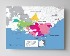 Wine Map of Provence, France with Cities
