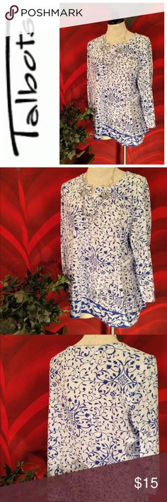 Selling this Talbots pretty blue and white print Plus Size 2X on Poshmark! My username is: jesseblackbear. #shopmycloset #poshmark #fashion #shopping #style #forsale #Talbots #Tops