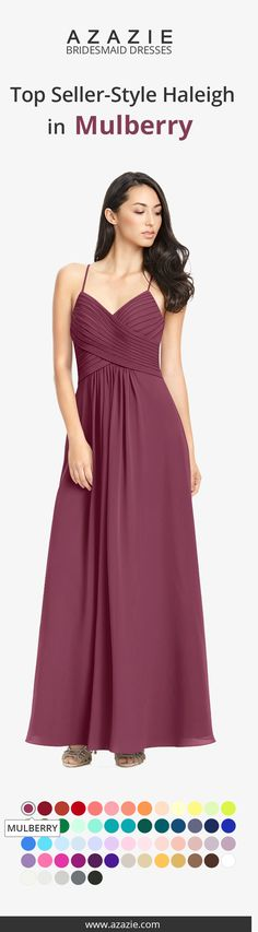 Haleigh is a lovely floor-length bridesmaids dress with an A-line cut with a pleated bodice in simple chiffon. This bestsllers, features a v neckline with a jewel clasp on the back to hold the two spaghetti straps together. Available in full size range (A0-A30) and custom sizing.