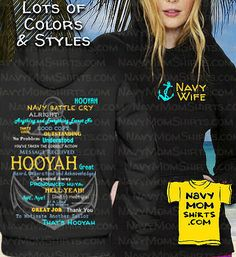 Navy Wife Hooyah Shirts & Hoodies with Anchor are available in lots of Styles and Colors! These are Fabulous and Fun Navy Wife Shirts you'll Love to wear! Navy Life, Battle Cry, Hoodies, Sweatshirts, Anchor, How To Wear, Color, Style, Swag