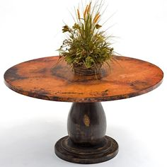 Hand Hammered Round Copper Dining Table - Pedestal Base #1 - Item #DT00182 - Base Available in Antique, Black or Espresso - Custom Sizes Available - Eco-Friendly Recycled Copper